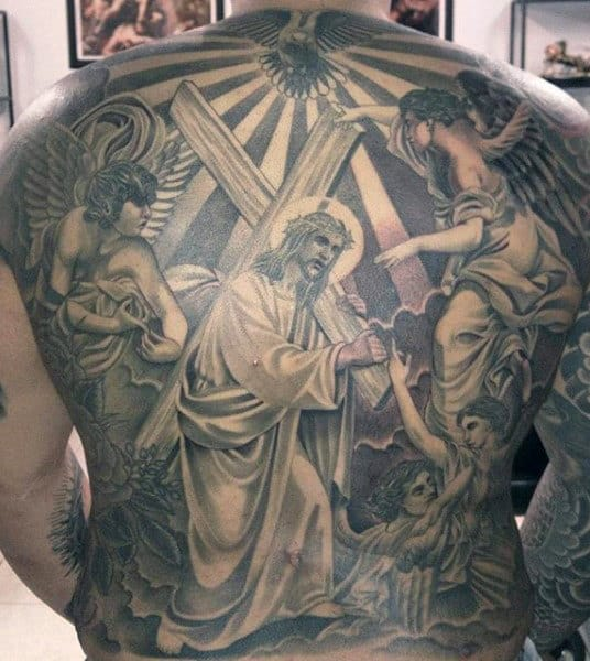 Religious Themed Holy Spirit Mens Christian Jesus Full Back Tattoos