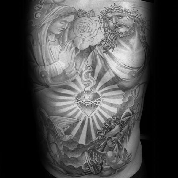 Religious Themed Sacred Heart With Mother Mary And Jesus Guys Full Chest Tattoos