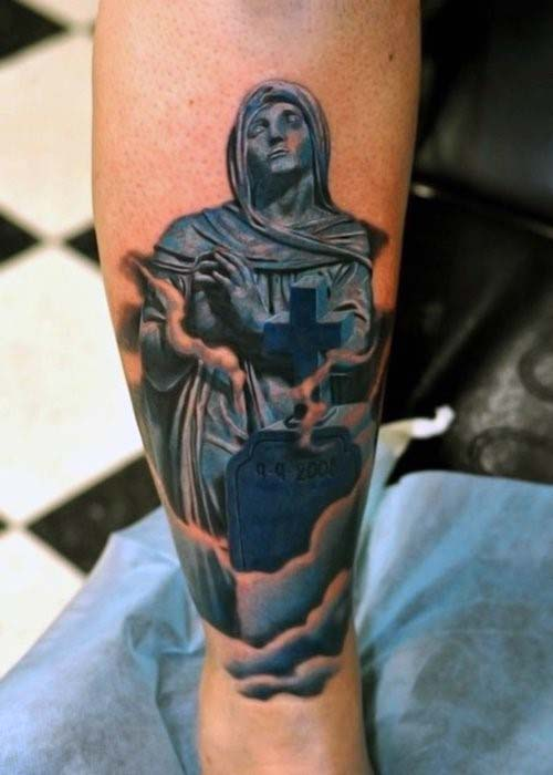 Religious Tombstone Cross Mens Tattoo With Clouds On Lower Forearm