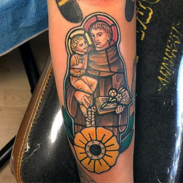 Religious With Yellow Flower Stained Glass Male Forearm Tattoo