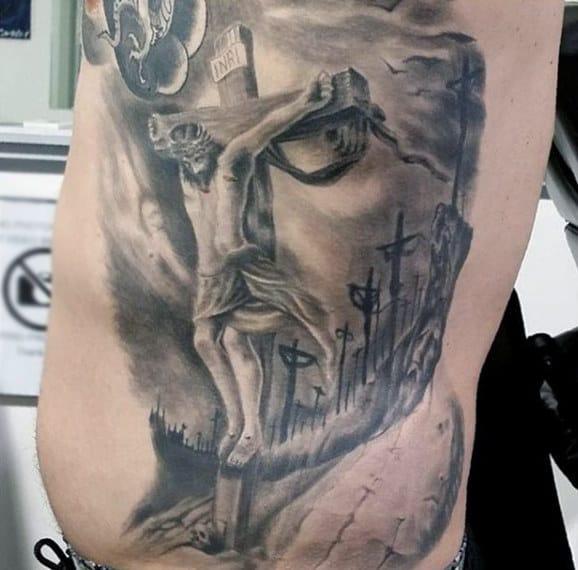 Religous Jesus Face Cross Optical Illusion Rib Cage Side Tattoos