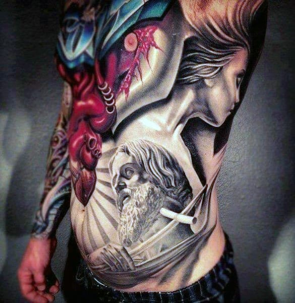 Religous Side Stomach Tattoos For Men