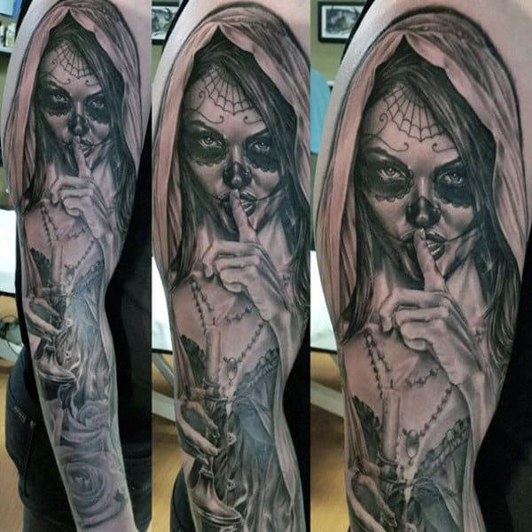 Remain Quiet Day Of The Dead Lady Tattoo With Burning Candle Mens Forearms