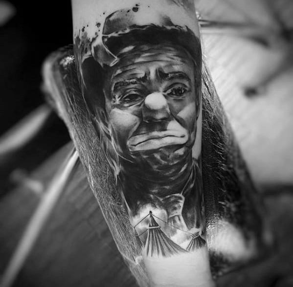 Remarkable 3d Clown Portrait Circus Tattoos For Males On Inner Forearm