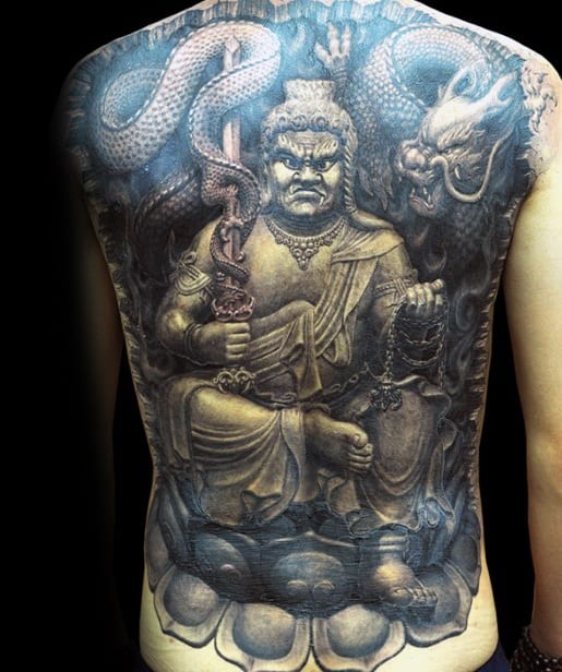 Remarkable 3d Realistic Full Back Fudo Myoo Tattoos For Males
