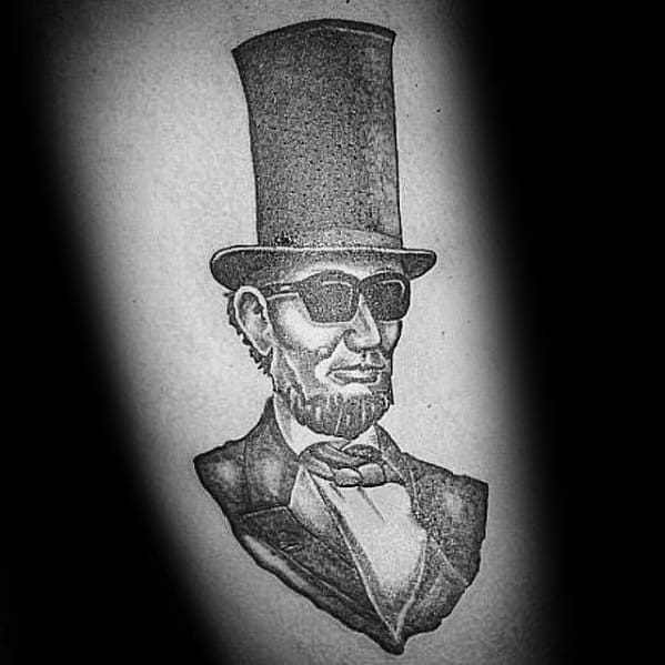 Remarkable Abraham Lincoln With Top Hat And Sunglasses Arm Tattoos For Males