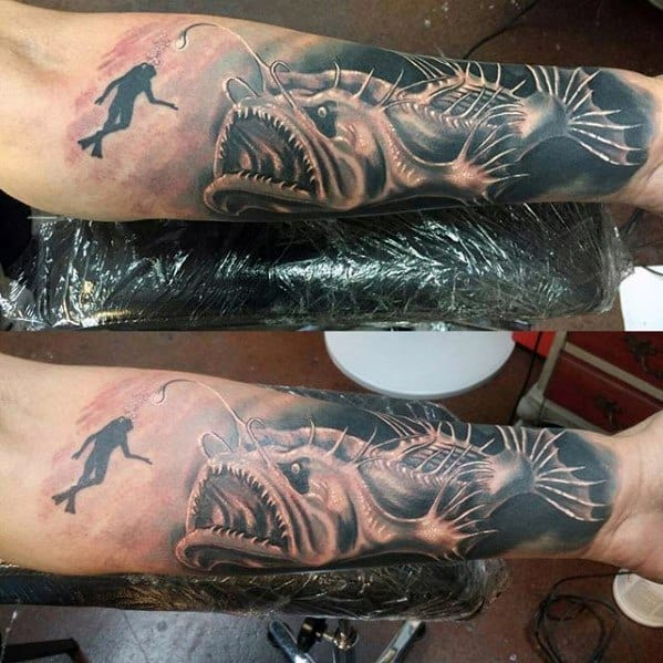 Remarkable Angler Fish With Diver Forearm Sleeve Tattoos For Males