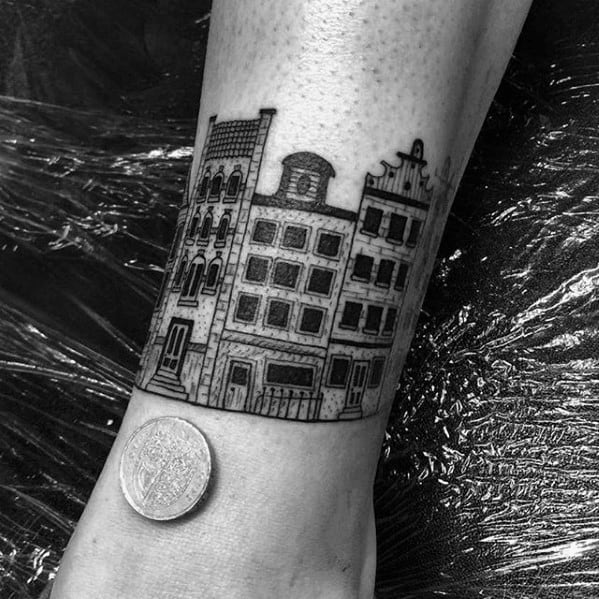 Remarkable Ankle Band City Buildings Tattoos For Males