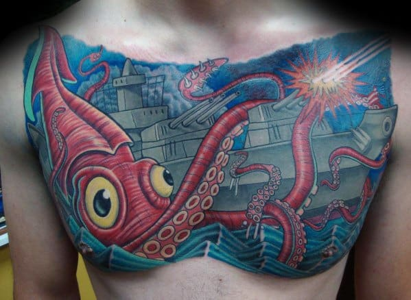 Remarkable Battleship With Giant Squid Chest Tattoos For Males