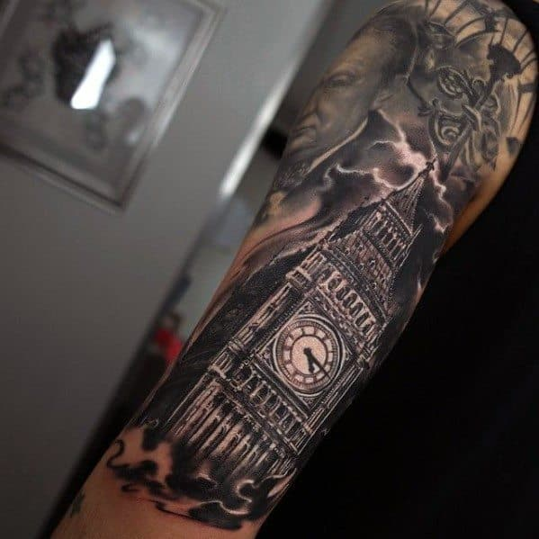 50 big ben tattoo designs for men clock ink ideas. Black Bedroom Furniture Sets. Home Design Ideas