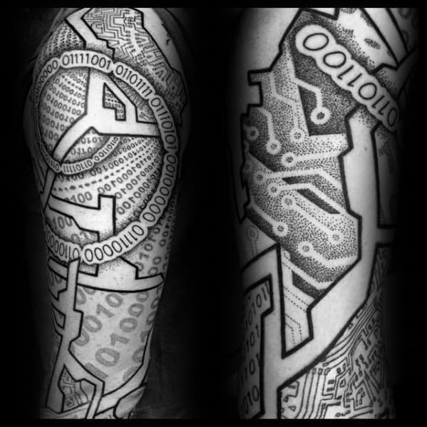 Remarkable Binary Sleeve Computer Themed Tattoos For Males