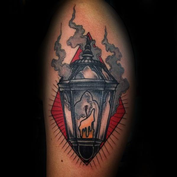 Remarkable Candle Lantern Arm Tattoos For Males