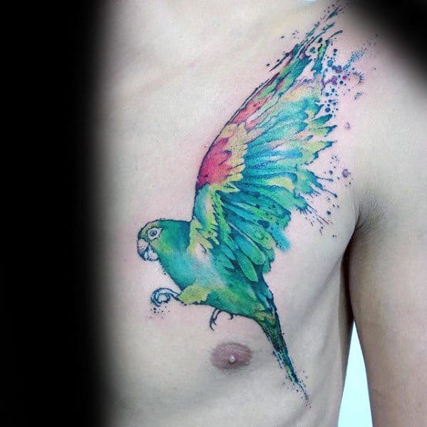 Remarkable Chest Watercolor Parrot Tattoos For Males
