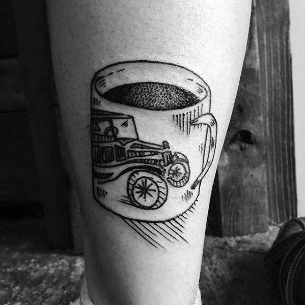 Remarkable Coffee Cup With Vintage Automobile Leg Tattoos For Males
