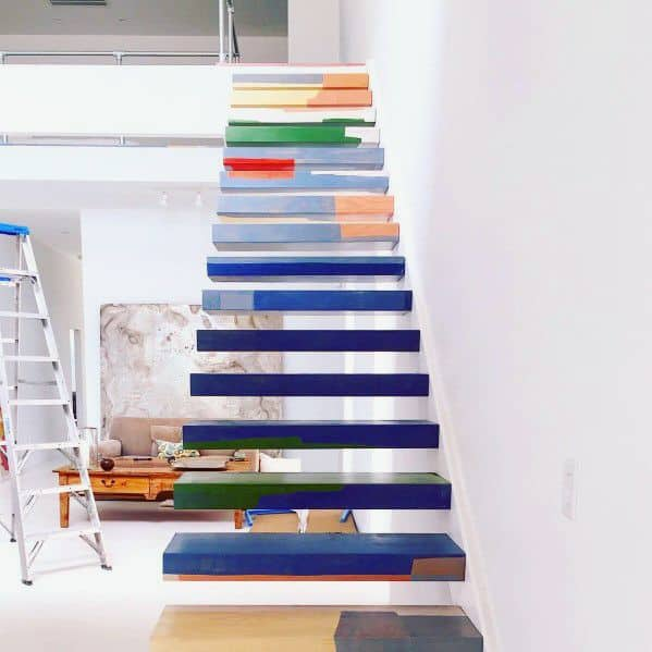 Remarkable Colorful Ideas For Painted Floating Modern Stairs