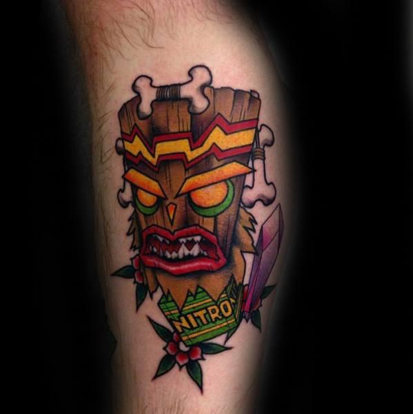 Remarkable Crash Bandicoot Nitro Video Game Leg Tattoos For Males