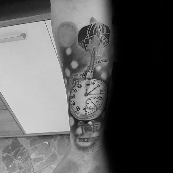 Remarkable Dart With Pocket Watch Tattoos For Males On Forearm