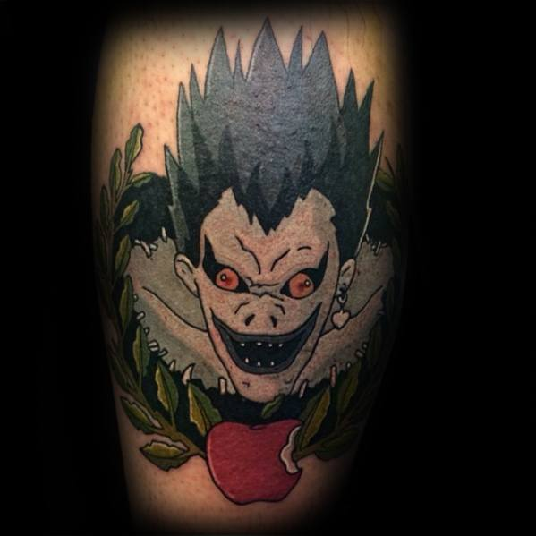 Remarkable Death Note Tattoos For Males On Leg Calf