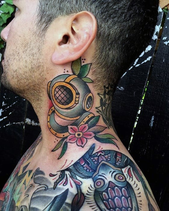 Remarkable Diving Helmet Old School Neck Tattoos For Males