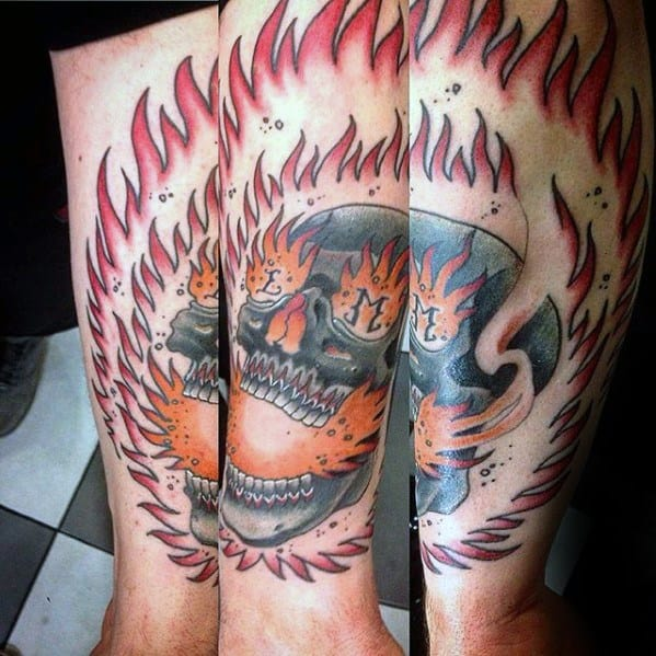 Remarkable Flaming Skull Tattoos For Males