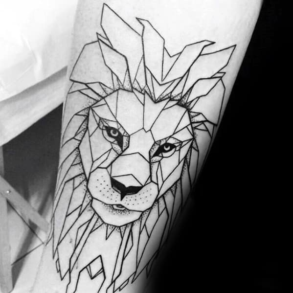 Remarkable Forearm Outline Geometric Lion Tattoos For Males