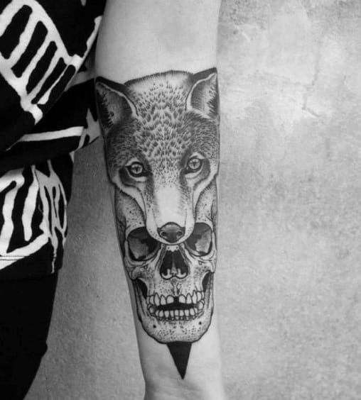 Remarkable Fox Skull Tattoos For Males