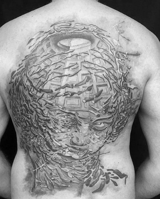 Remarkable Full Back Black And Grey Ink Salvador Dali Tattoos For Males
