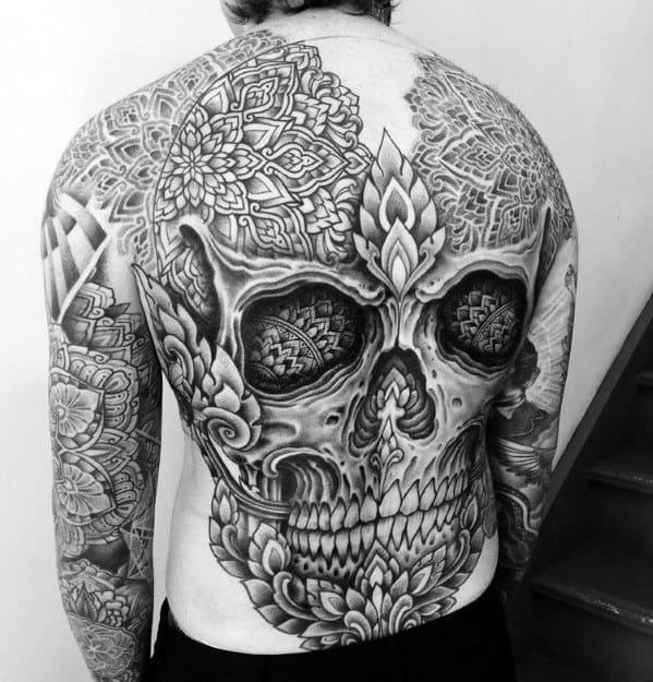 Remarkable Full Back Pattern Mandala Skull Tattoos For Males