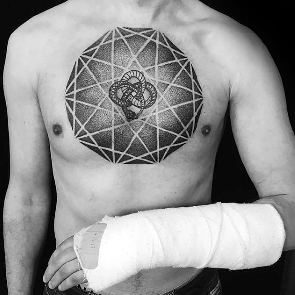 Remarkable Geometric Dotwork Snake Chest Tattoos For Males