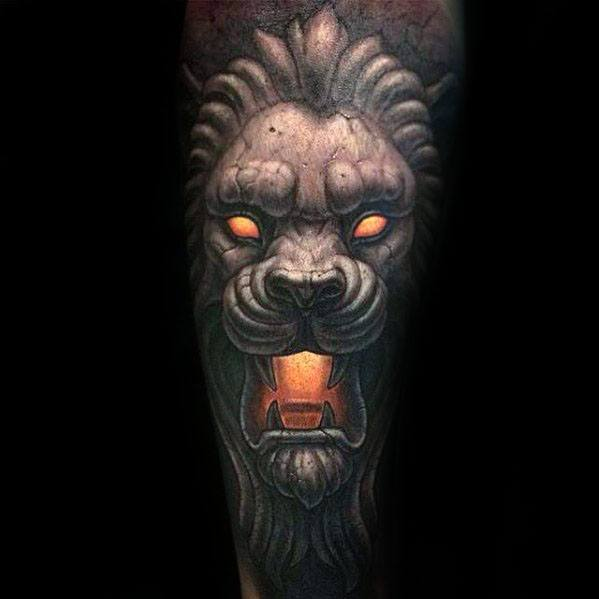 Remarkable Glowing Orange 3d Forearm Sleeve Lion Statue Tattoos For Males