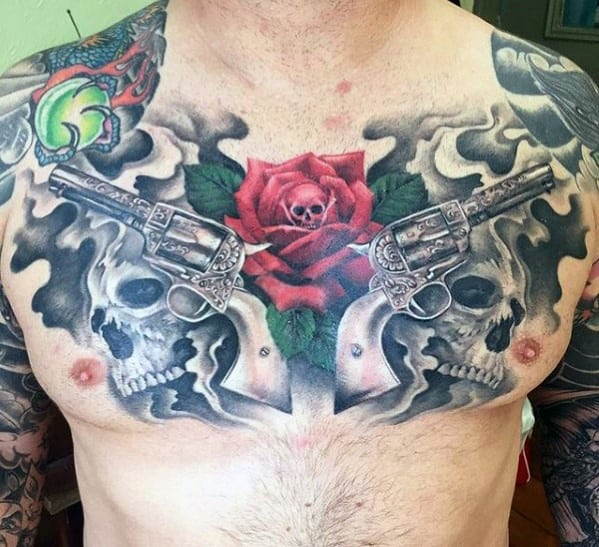 40 Guns And Roses Tattoo Designs For Men