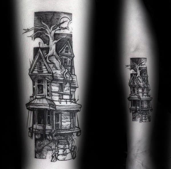 Remarkable Haunted House Tattoos For Males