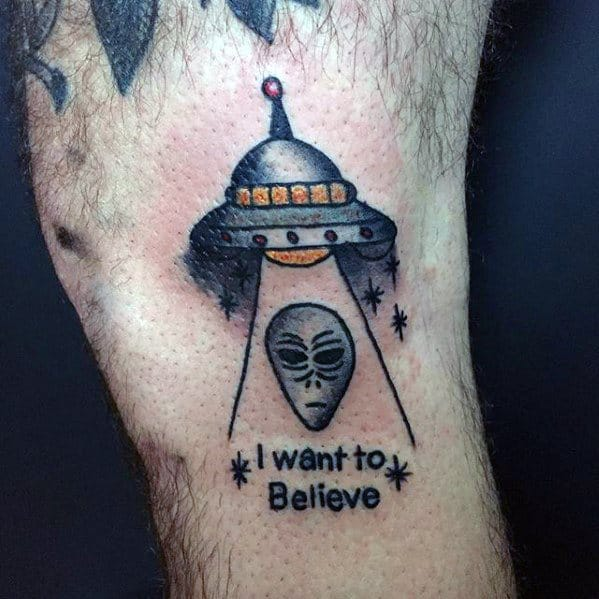 Remarkable I Want To Believe Tattoos For Males Side Of Leg