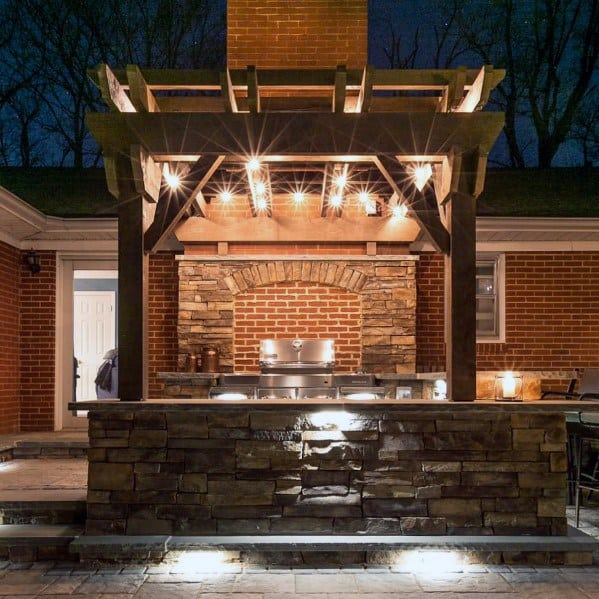 Remarkable Ideas For Built In Grill Stone And Red Brick