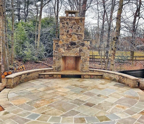 Remarkable Ideas For Round Flagstone Patio With Fireplace