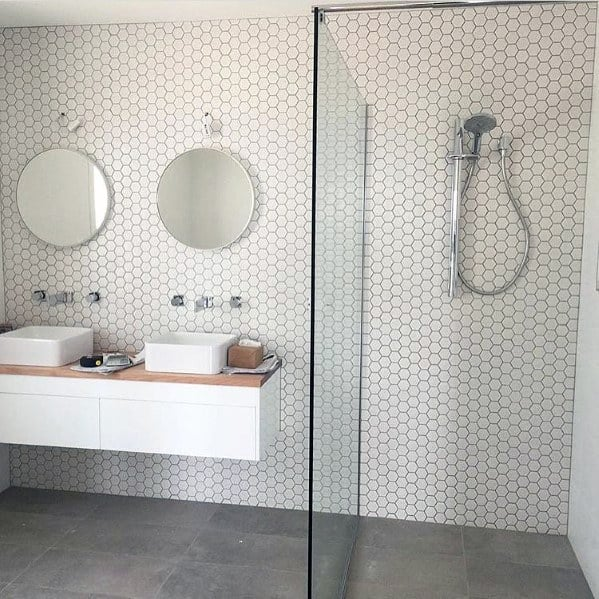 Remarkable Ideas For White Bathroom Small Hexagon Wall Tiles