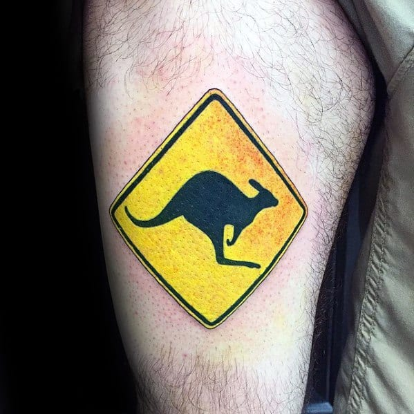 Remarkable Kangaroo Warning Sign Thigh Tattoos For Males