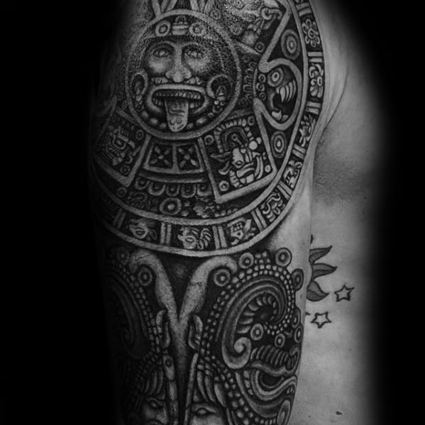 Remarkable Mayan Calender Tattoos For Males Arm Sleeve