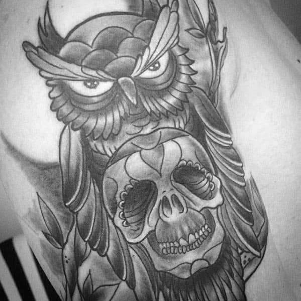 Remarkable Owl Skull Tattoos For Males