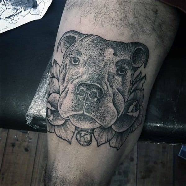 Remarkable Pitbull Tattoos For Males On Thigh
