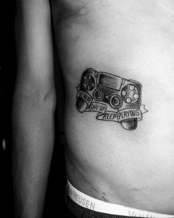 Remarkable Playstation Tattoos For Males Rib Cage Side