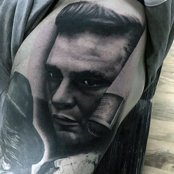 Remarkable Portrait Tattoos For Males On Thigh