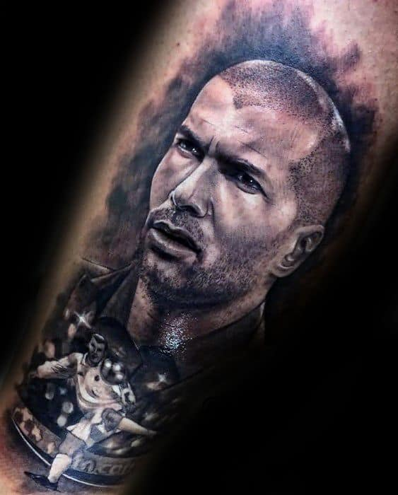 Remarkable Real Madrid Soccer Player Portrait Leg Tattoos For Males