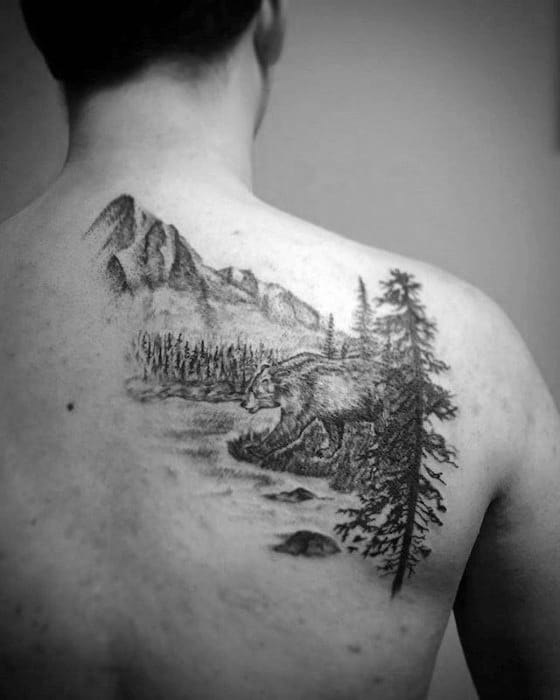 Remarkable River Tattoos For Males On Shoulder Blade