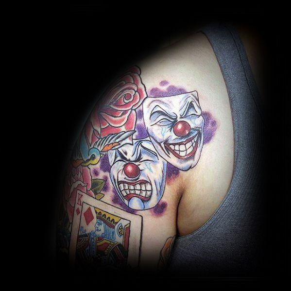 Remarkable Shoulder Drama Mask Tattoos For Males