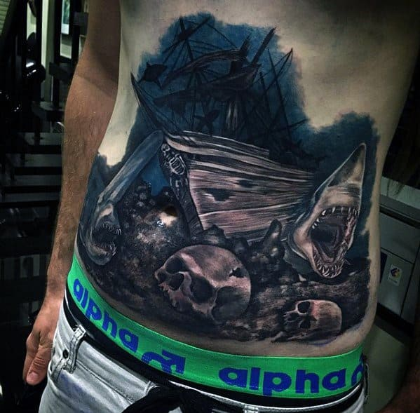 Remarkable Sinking Ship Underwater Chest Tattoos For Males
