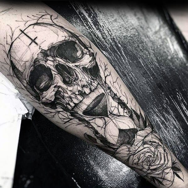 Remarkable Sketched Hourglass Badass Skull Tattoos For Males