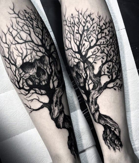 Remarkable Skull Tree Tattoos For Males