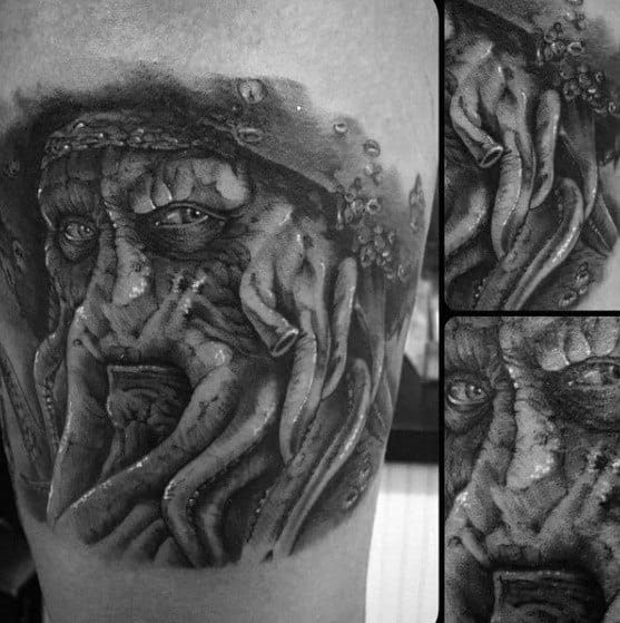 Remarkable Thigh Davy Jones Tattoos For Males