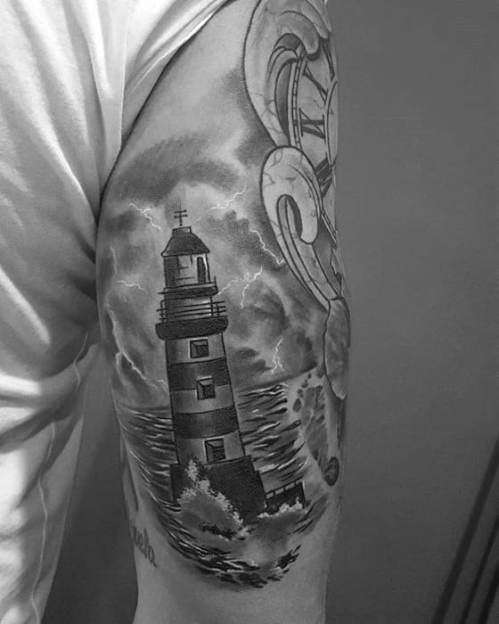Remarkable Thunderstorm Lighthouse Back Of Arm Tattoos For Males